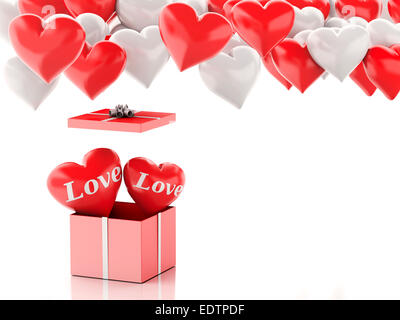 3d renderer illustration. red heart in a gift box and Heart balloons. Valentines Day concept on white background - Stock Photo