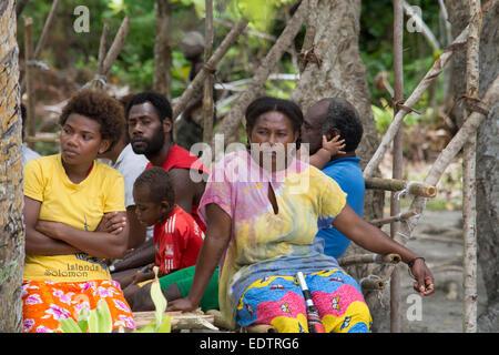 Republic of Vanuatu, Torres Islands, Loh Island. Local Loh island villagers. - Stock Photo