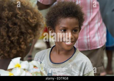 Republic of Vanuatu, Torres Islands, Loh Island. Local Loh island villager girl. - Stock Photo