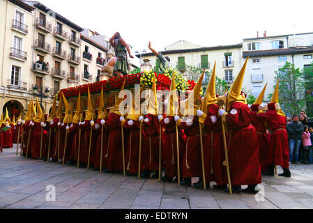 Religious Procession of Penitents during Semana Santa Easter celebrations in Logroño Spain - Stock Photo
