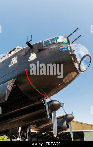 Close up view from under the front of a RAF Bomber Command World War 2 Lancaster Bomber - Stock Photo