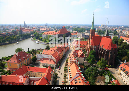 View from St. Johns cathedral tower across Cathedral Island, Wroclaw, Lower Silesia, Poland, Europe - Stock Photo