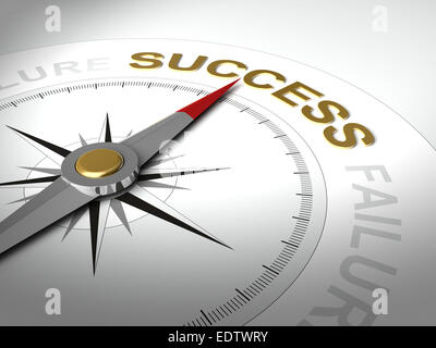 Conceptual 3D render of compass with needle pointing the word success