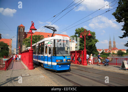 Tram at bridge Most Piaskowy,  Wroclaw, Lower Silesia, Poland, Europe - Stock Photo