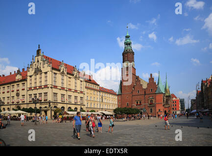 Market square Rynek, Wroclaw, Lower Silesia, Poland, Europe - Stock Photo