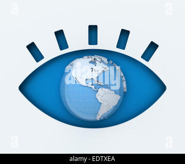 Human eye paper cut with globe - Stock Photo