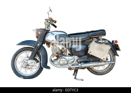 Old dirty motorcycle with rust on isolated background - Stock Photo