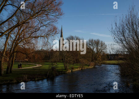 View of Salisbury Cathedral spire from 'Town Path' with the River Avon in foreground. - Stock Photo