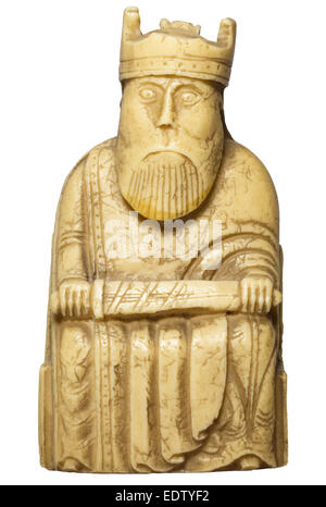 Cut out of 12th century Lewis chessmen piece - king holding sword - Stock Photo