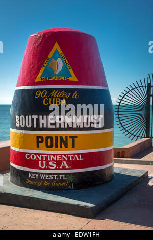 Marker at the Southernmost Point in America, Key West, Florida, USA - Stock Photo