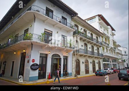 Renovated buildings in Casco Viejo area, Panama City - Stock Photo