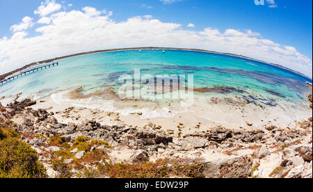 Fisheye view of Vivonne Bay in South Australia - Stock Photo
