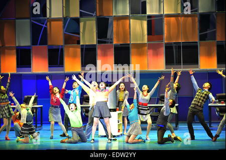 Beijing, China. 9th Jan, 2015. Actors perform musical How to Succeed in Business Without Really Trying on stage - Stock Photo