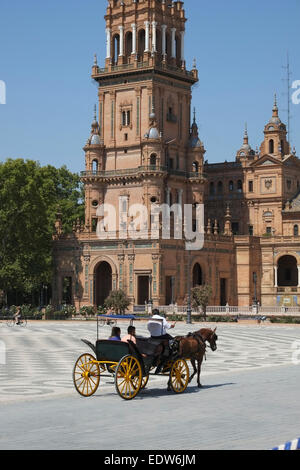 Seville Spain: Horse and Carriage is a popular sightseeing choice for tourists in Seville - Stock Photo