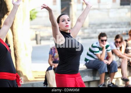 Seville, Spain: Flamenco dancing being performed in the street in Seviile Spain - Stock Photo