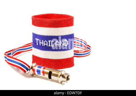 Whistle And Wristband In Thai Flag Pattern Symbol Of Resistance To