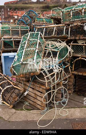 UK, England, Yorkshire, Whitby, New Quay, Lobster pots on the quayside - Stock Photo