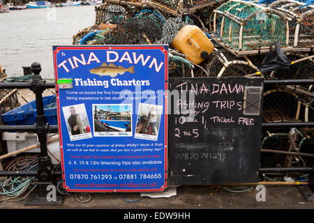 UK, England, Yorkshire, Whitby, New Quay, sign advertising Tina Dawn fishing boat charter trips - Stock Photo