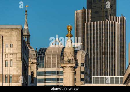 The Monument to the Great Fire of London is a fluted Doric column in the City of London - Stock Photo