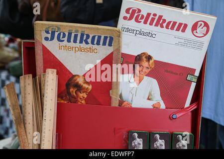 Pelikan interplastic pack and wood rulers. - Stock Photo