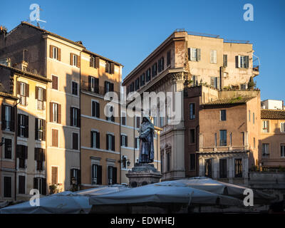 Giordano Bruno statue at the Campo Dei Fiori square in Rome, Italy - Stock Photo