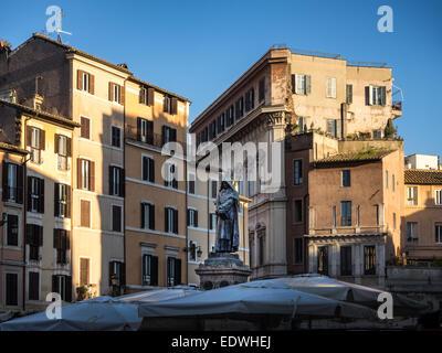 Giordano Bruno statue at the Campo Dei Fiori square in Rome, Italy - Stock Photo