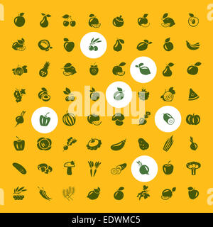 Fruits and vegetables set of icons - Stock Photo