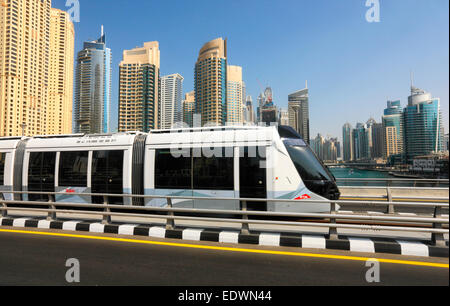 Dubai tram in Dubai Marina -  launch on Nov 2014 - Stock Photo