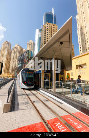 Dubai tram station in Dubai Marina -  launch on Nov 14 - Stock Photo