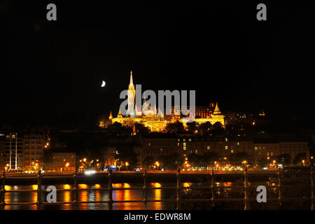 Buda side of Budapest with the Buda Castle, St. Matthias and Fishermen's Bastion by night, Hungary - Stock Photo
