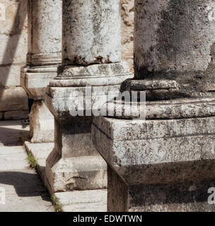 The ruins of the synagogue in the small town Capernaum - Stock Photo