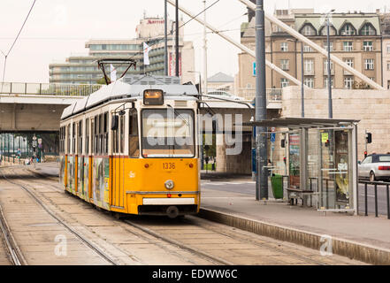 Tram on Line 2 running along the River Danube in Budapest, Hungary - Stock Photo