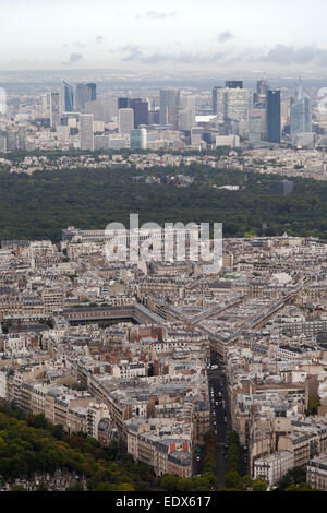 France, Paris, view from the Eiffel tower looking towards the financial centre. - Stock Photo