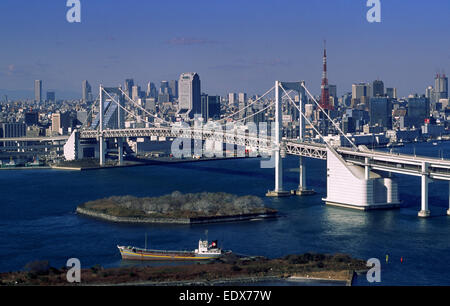 japan, tokyo, odaiba, rainbow bridge - Stock Photo