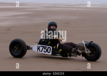 Southport, Merseyside, UK.   11th January, 2015 UK Weather. 'Land sailing, Kite buggy, or landboard activities, - Stock Photo