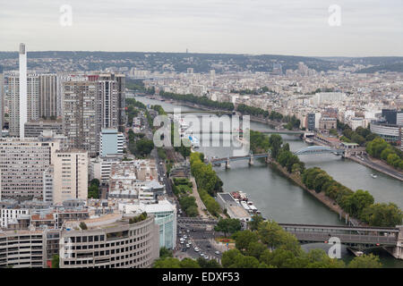 France, Paris, view from the Eiffel tower, looking towards the river Seine. - Stock Photo