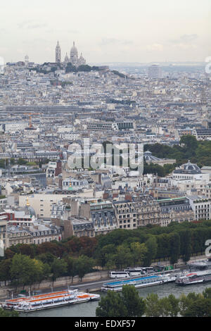 France, Paris, view from the Eiffel tower looking towards Montmartre. - Stock Photo