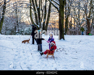 Woman, dog, three children and toboggan in heavy winter snow in Public Park, Humbolthain Volkspark, Brunnenviertel, - Stock Photo