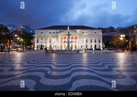 Dona Maria II National Theater on Rossio Square at night, Lisbon, Portugal. - Stock Photo