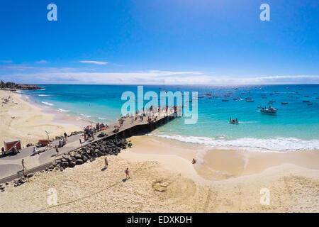 Aerial view of Santa Maria beach in Sal Cape Verde - Cabo Verde - Stock Photo