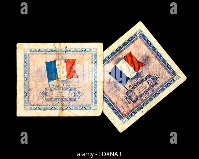 Vintage French WW2 banknote (5-Francs) issued by the Allied Military Government for Occupied Territories (AM) in - Stock Photo