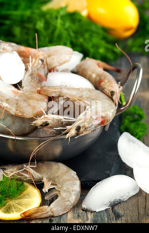 Raw Shrimps on ice with fresh dill and lemon - Stock Photo