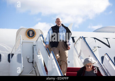 Alan Gross arrives at Joint Base Andrews, Md., Dec. 17, 2014. Gross spent 5 years as a prisoner in Cuba. - Stock Photo