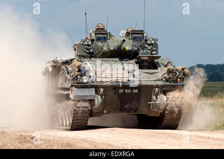 A British Army Warrior Infantry Fighting Vehicle, on the Salisbury Plain military Training Area in Wiltshire, United - Stock Photo
