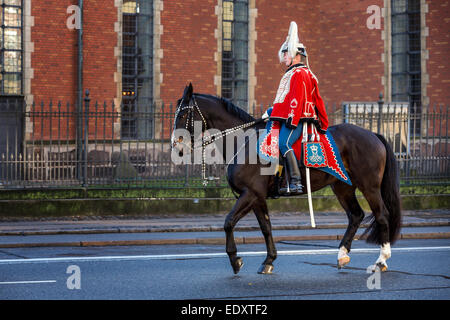 A soldier from the Guard Hussar Regiment on horse, Copenhagen, Denmark - Stock Photo