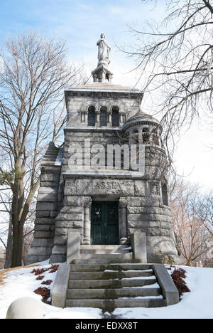 The Romanesque revival style mausoleum of Canada's well-known Massey family located in Toronto's Mount Pleasant - Stock Photo