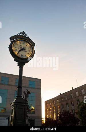 Wick & Greene Plaza Jewelers clock in downtown Asheville, North Carolina - Stock Photo