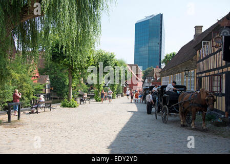 Old & new. The Old Town open-air living museum ( Den Gamle By ) is in Aarhus, Denmark's second largest city in Jutland, - Stock Photo