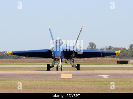 Modern US Navy F/A-18 jetfighter front view on the ground - Stock Photo