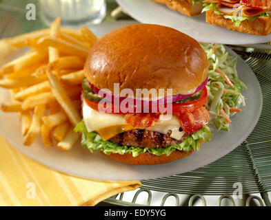 Bacon Cheese Burger with French Fries - Stock Photo